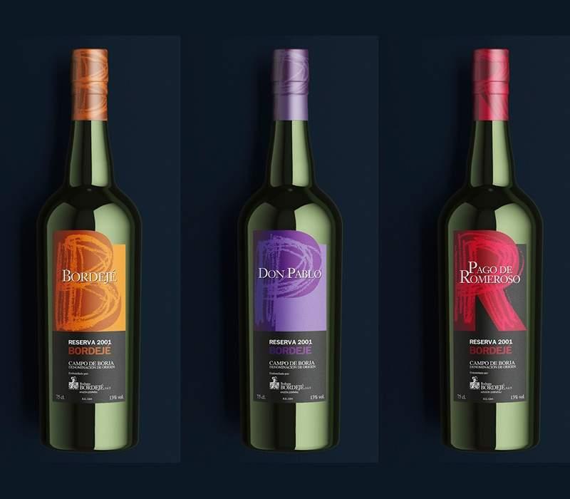Diseño de botellas vino para bodegas  Bordeje
